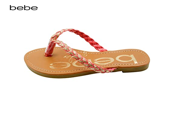 bebe Girls Braided Glitter Sandals With Printed Footbed 13/1 Coral/Gold:  Amazon.ca: Shoes & Handbags