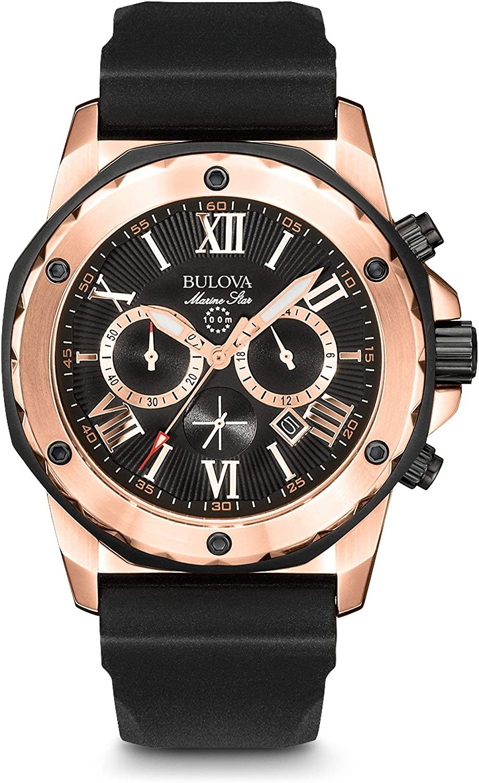 Bulova Men s 44mm Marine Star Silicone Strap Watch