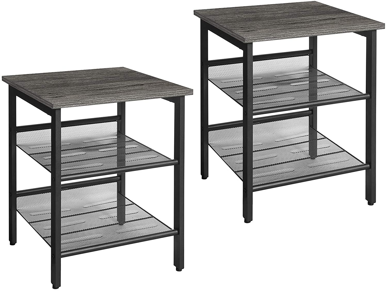 VASAGLE Nightstand, Set of 2 Side Tables, End Tables with Adjustable Mesh Shelves, for Living Room, Bedroom, Industrial, Stable Steel Frame, Easy Assembly, Charcoal Gray and Black ULET024B04