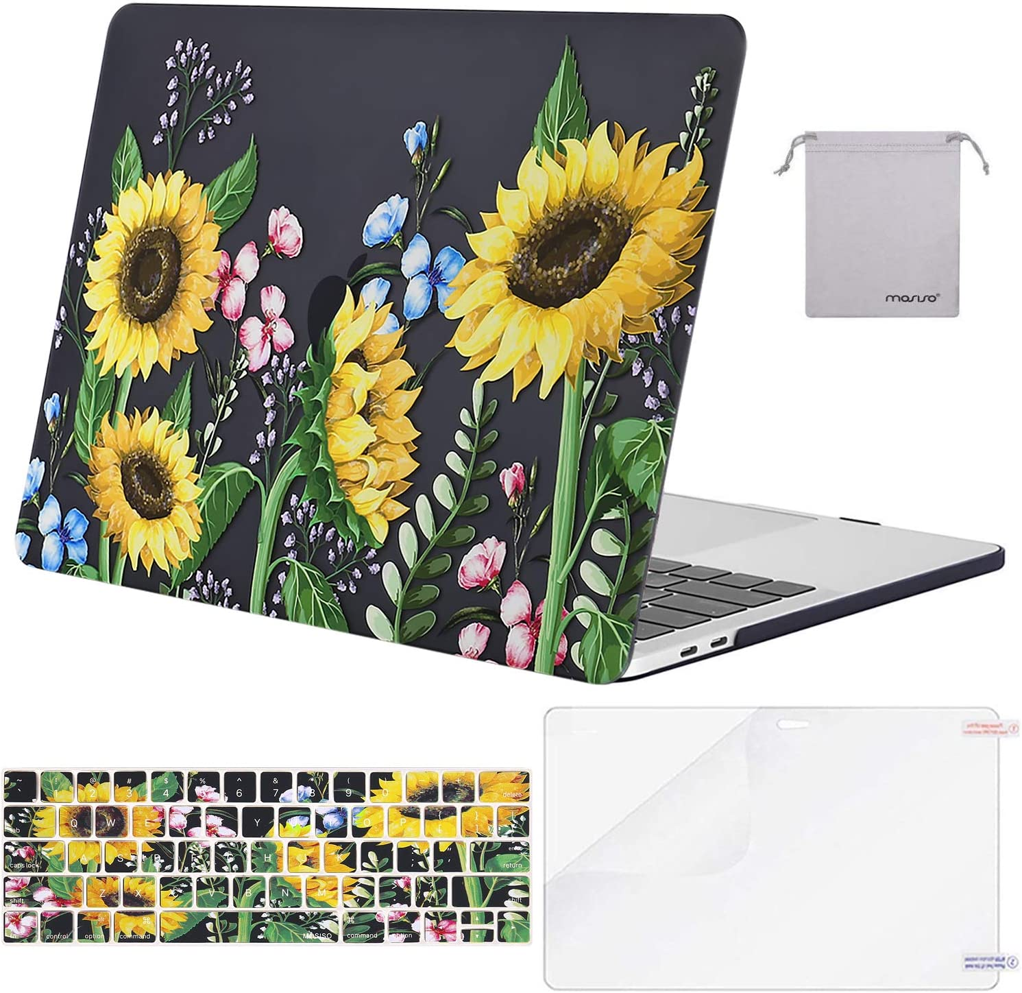 MOSISO Compatible with MacBook Pro 13 inch Case 2019 2018 2017 2016 Release A2159 A1989 A1706 A1708, Plastic Pattern Hard Shell Case&Keyboard Cover Skin&Screen Protector&Storage Bag, Sun Plant