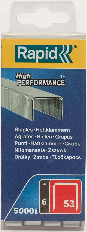 Rapid, 40303083, Agrafes en fil fin N°53, Longueur 6mm, 5000 pièces, Pour le textile et la décoration, Fil galvanisé, Haute performance