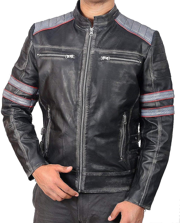 Chaqueta deportiva para motocicleta de cuero con protecciones para hombre Alta protecci/ón LJ-1704 Color negro y rojo