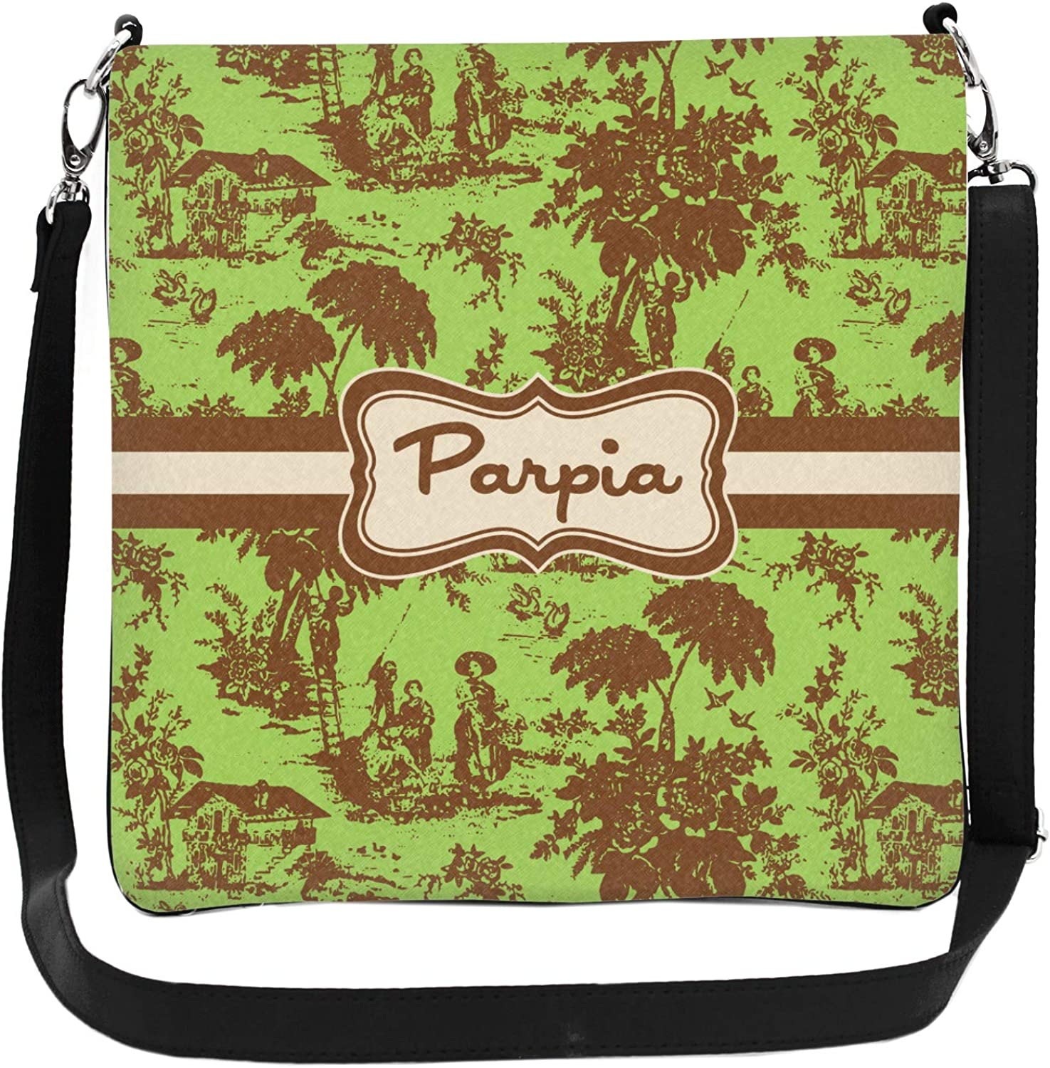 Green /& Brown Toile Cross Body Bag 2 Sizes Personalized