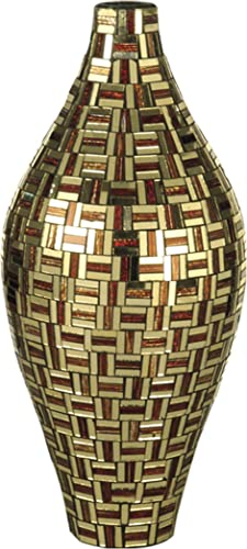 Dale Tiffany PG10276 Art Glass Vase from Ravenna Collection in Bronze Dark Finish, 7.00 inches, 7-Inch by 15-3 4-Inch, Multicolored