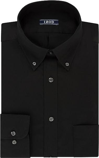 Mens Dress Shirt IZOD Regular Fit Pure Cotton Easycare Long Sleeve