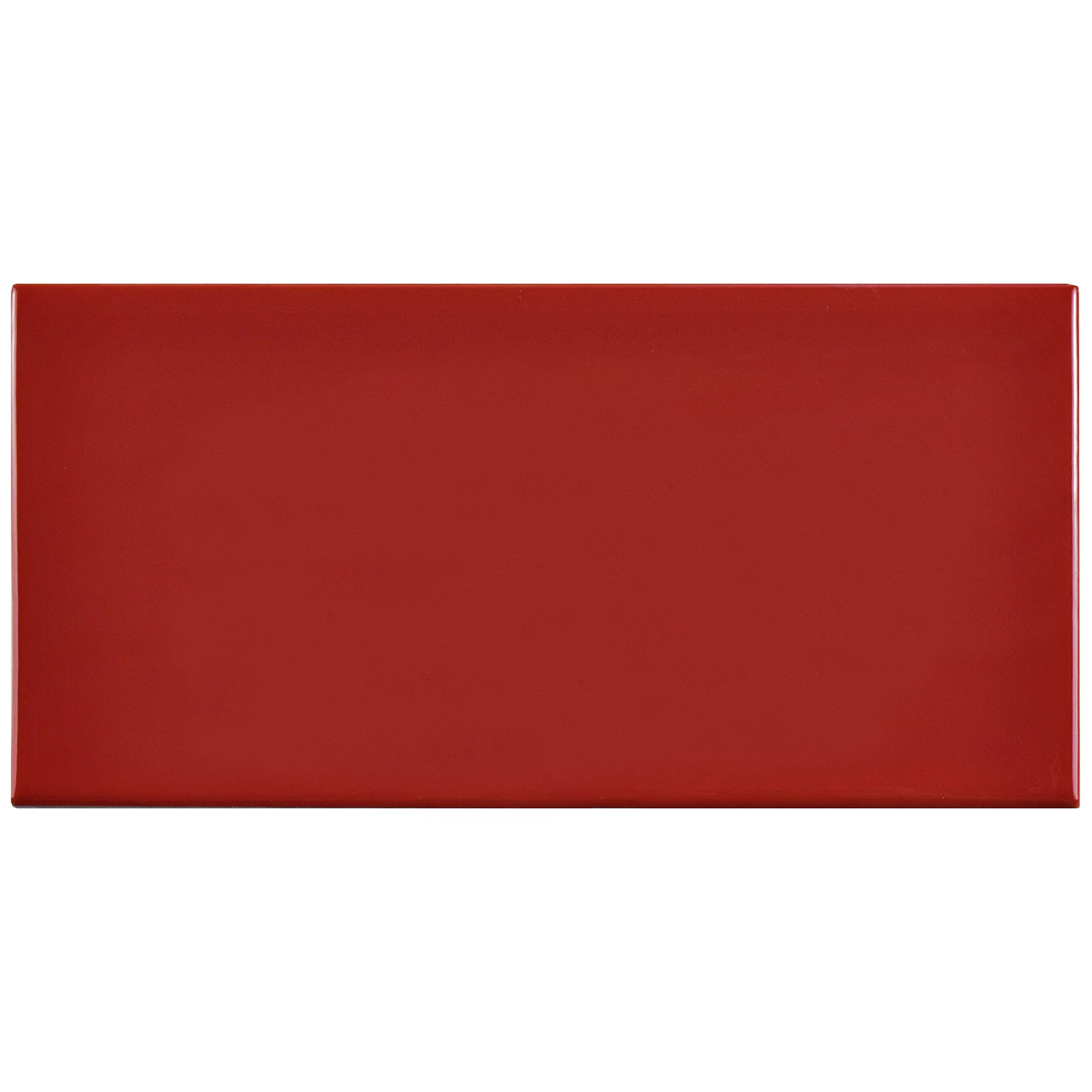SomerTile WXR3PSAR Pente Subway Ceramic Wall Tile, 3'' x 6'', Glossy Apple Red
