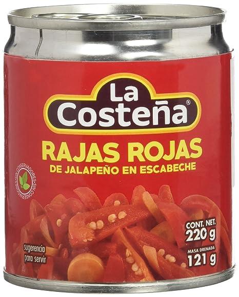 La Costeña Rajas Rojas - Paquete de 24 x 220 gr - Total: 5280 gr