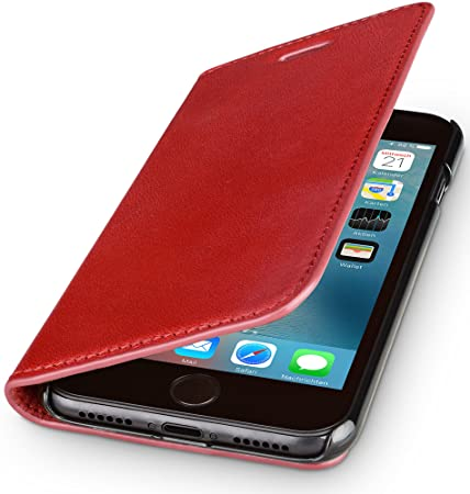 WIIUKA Echt Ledertasche -TRAVEL Nature- für Apple iPhone 5 / 5S / SE -DEUTSCHES Leder- Rot, mit Kartenfach, extra Dünn, Tasch