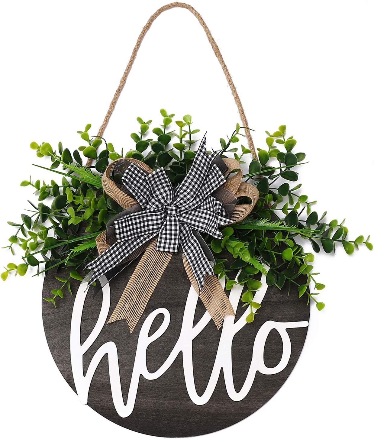 QUNWREATH Welcome Sign , Rustic Front Door Decor, Round Wood Hanging Sign with Eucalyptus, Farmhouse Porch Home Decoration ,Thanksgiving Christmas Gift(12inch) (Hello Black board)