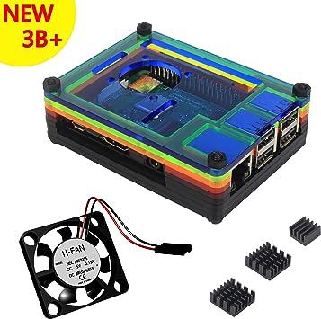 Caja Para Raspberry Pi 3 Modelo B+ Plus Carcasa con Ventilador Disipadores de Calor (Color): Amazon.es: Electrónica
