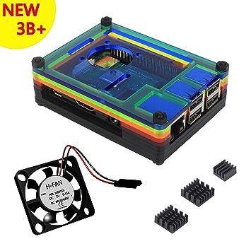 Caja Para Raspberry Pi 3 Modelo B+ Plus Carcasa con Ventilador Disipadores de Calor (Color)