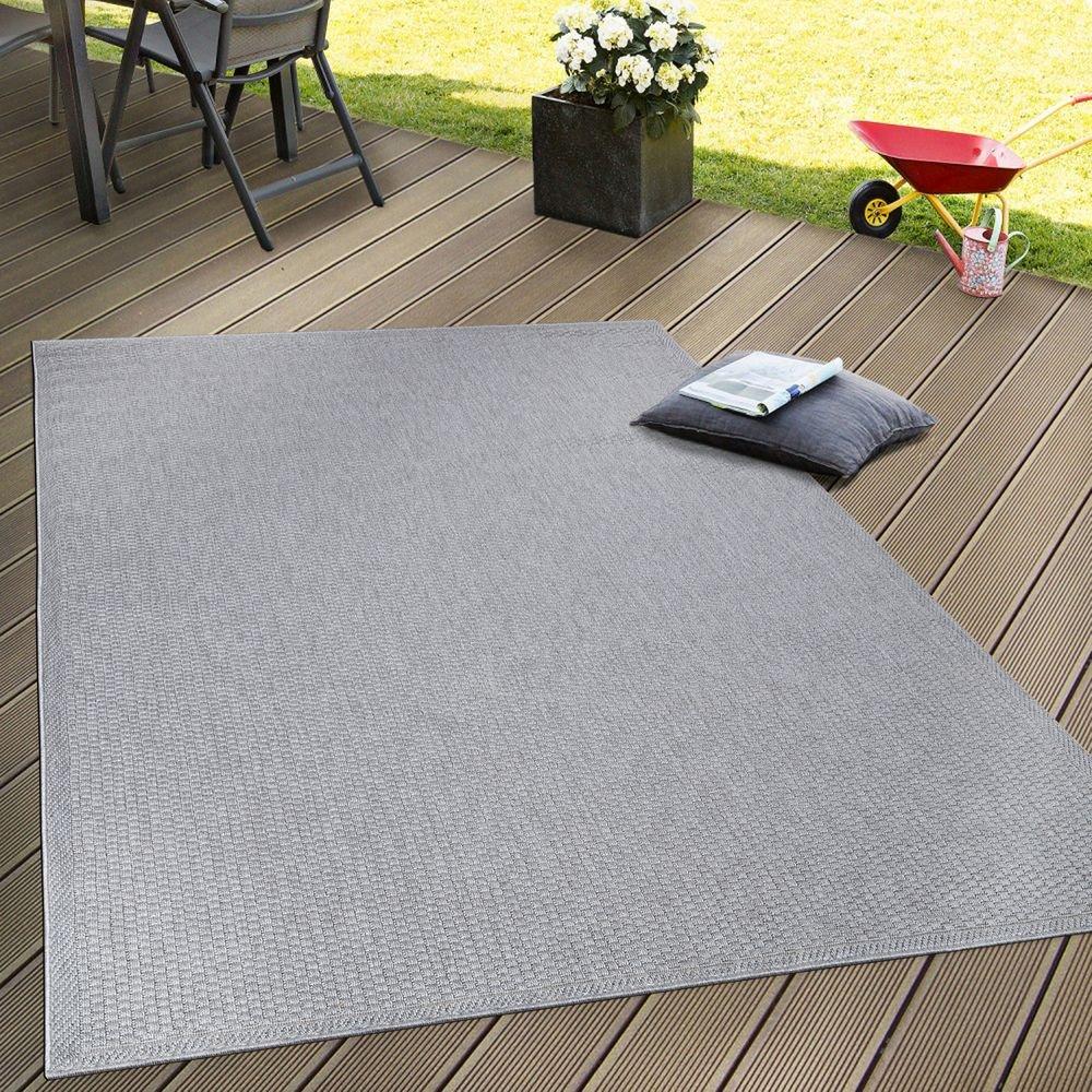 Paco Home In- & Outdoor Flachgewebe Teppich Terrassen Teppiche Natürlicher Look In Grau, Grösse 200x280 cm