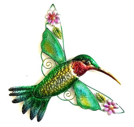 Bejeweled Display Hummingbird W/ Glass Wall Art Plaque U0026 Home Decor