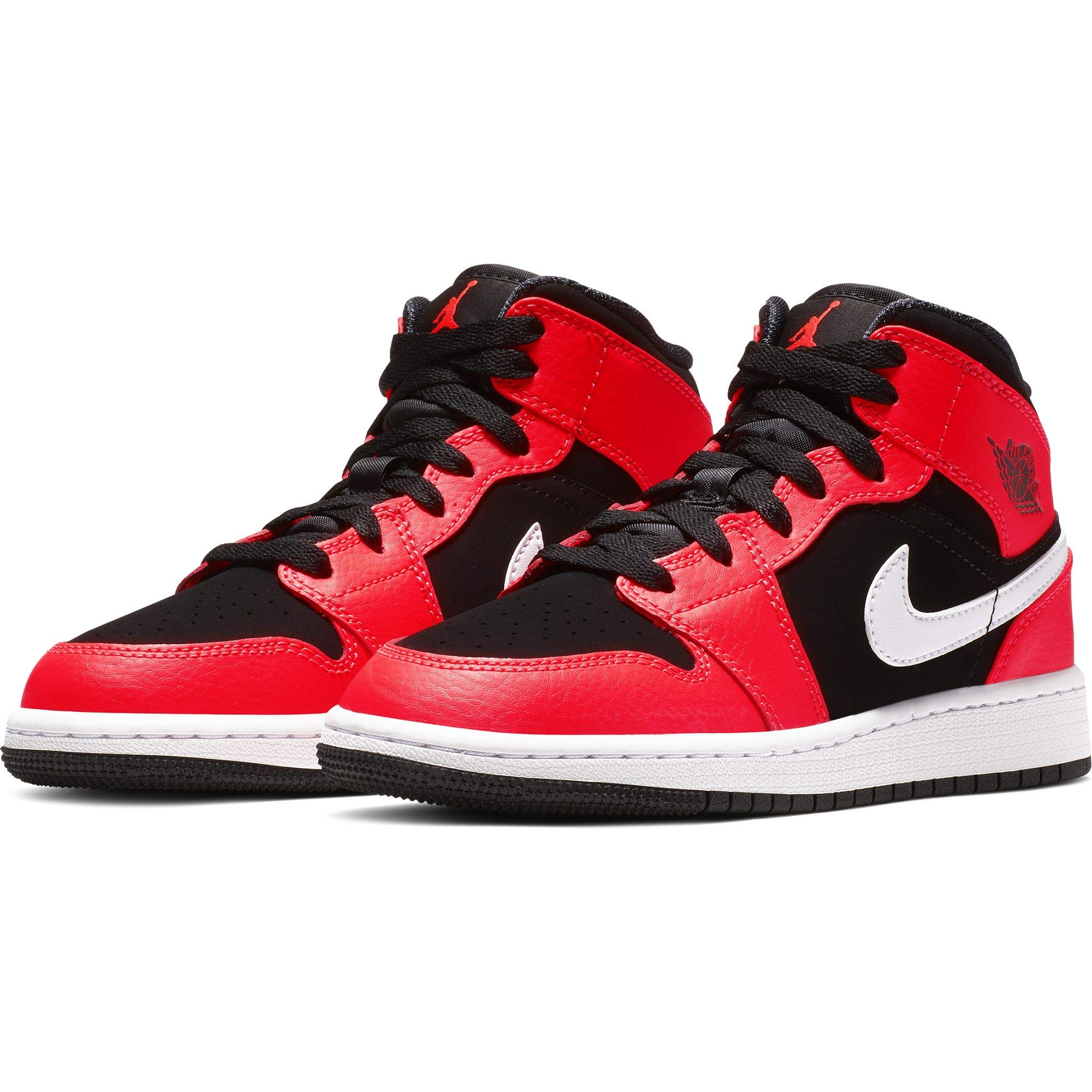 Jordan Boy's Air Jordan 1 Mid (GS) Basketball Shoe, Black/Infrared 23/White, 5 M US Big Kid