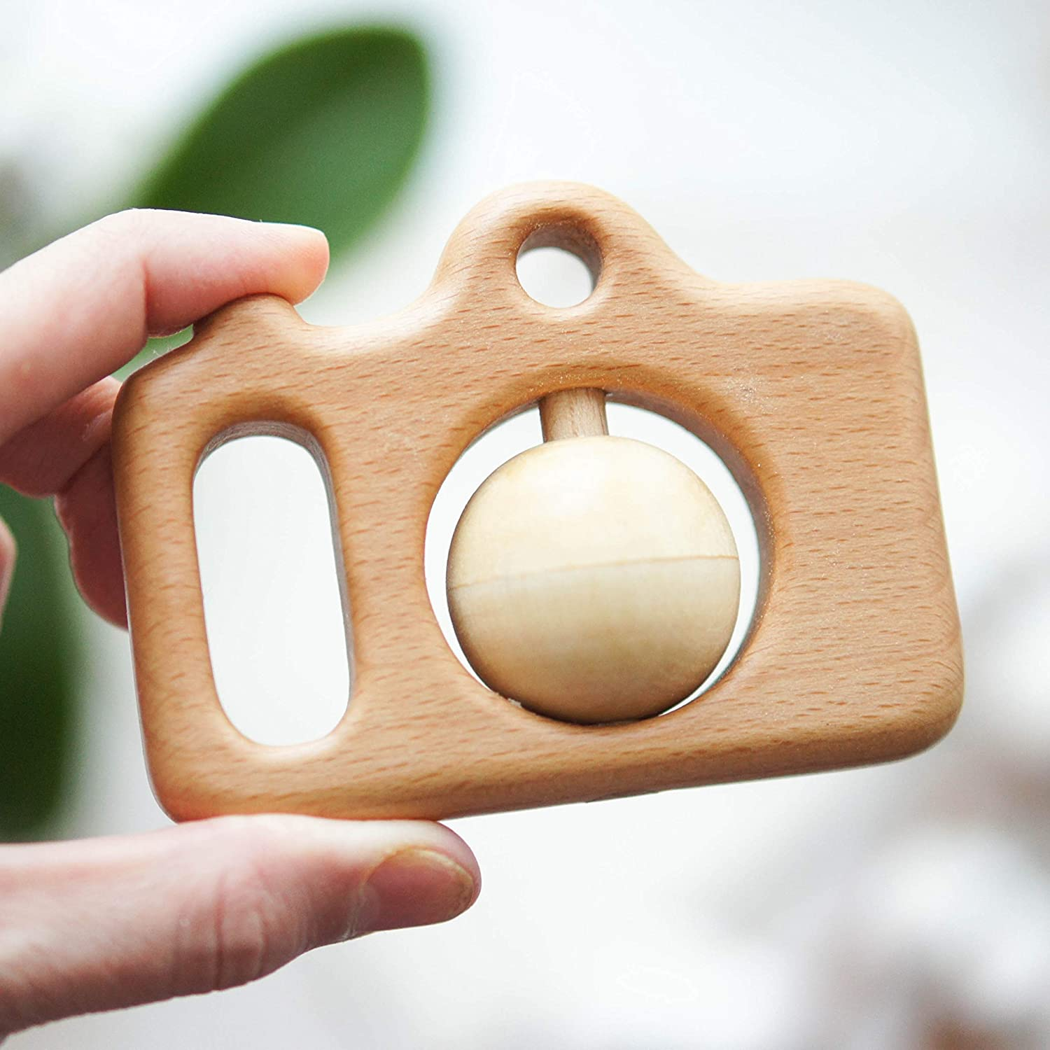 Organic Wooden Hand Carved Camera Rattle with Peas - Baby Shower Gift - Traditional Rattle Toy