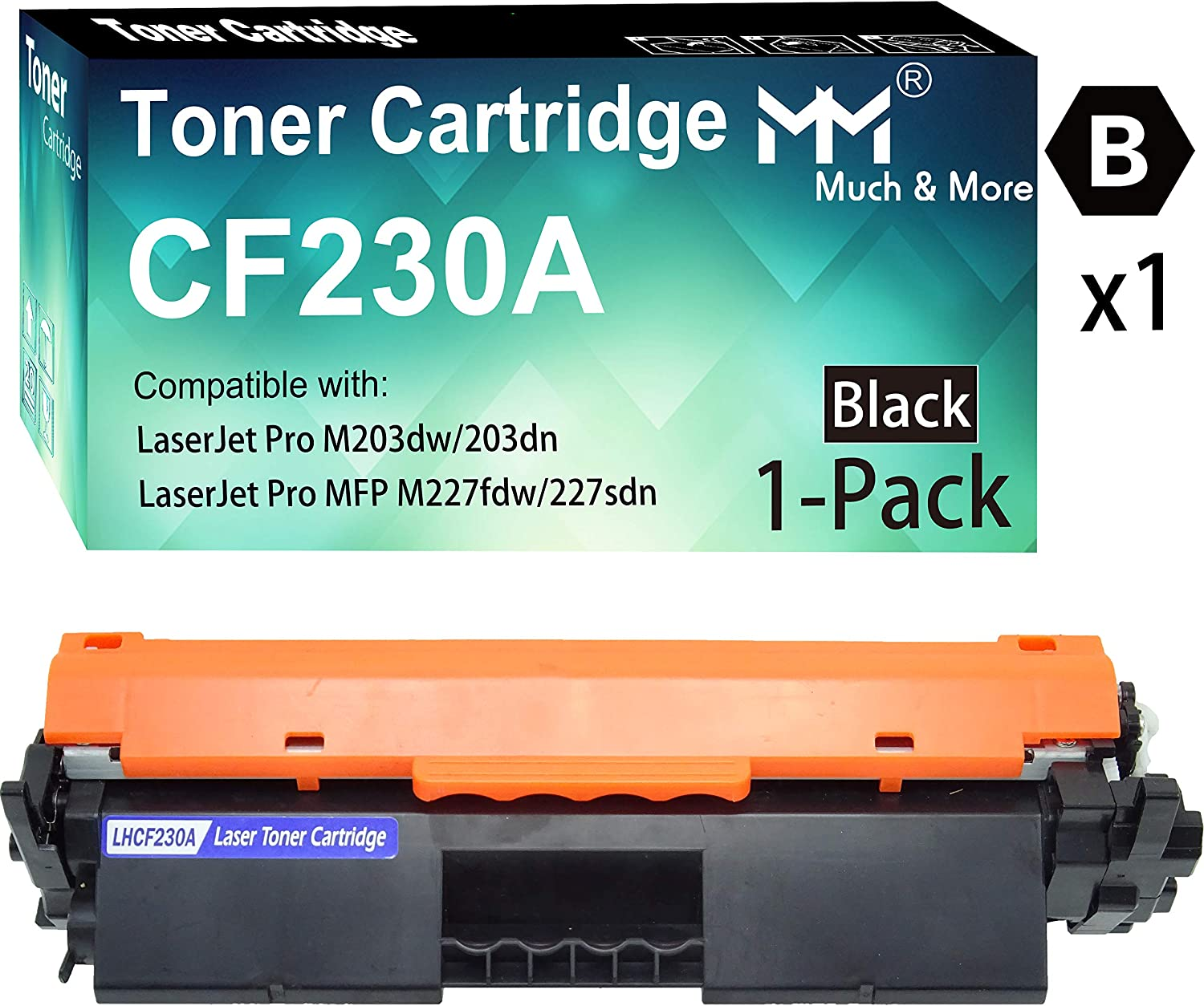 (1-Pack, Black) Compatible 30A CF230A 30X Toner Cartridge CF-230A Used for HP Laserjet Pro M203d M203dn M203dw MFP M227d MFP M227fdn MFP M227fdw Printer, Sold by MuchMore