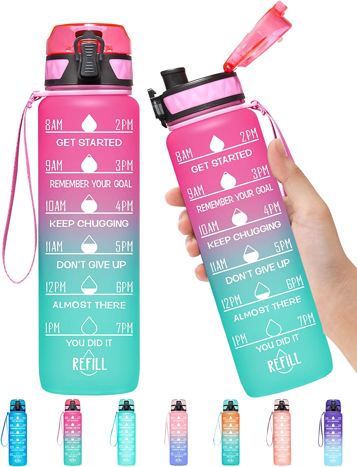 Elvira 32oz Motivational Fitness Sports Water Bottle with Time Marker /& Removable Strainer,Fast Flow,Flip Top Leakproof Durable BPA Free Non-Toxic