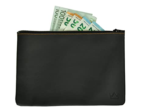Lederprinz® | La bolsa de banco Negro | genuina de cuero cartera de señora |