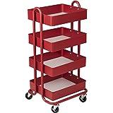 ECR4Kids 4-Tier Metal Rolling Utility Cart - Heavy Duty Mobile Storage Organizer, Red