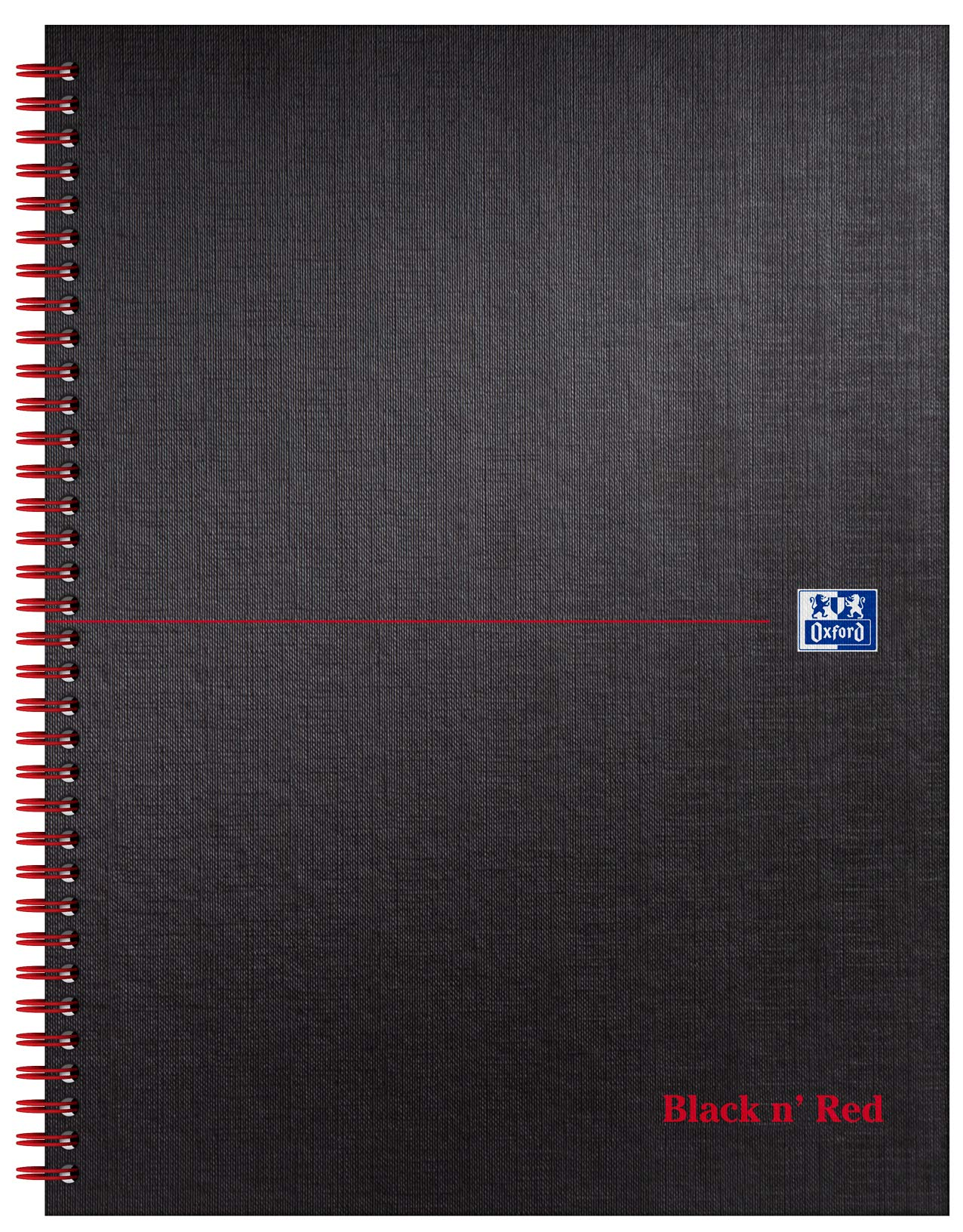 Oxford Black n' Red A4+ Matt Black Wirebound Hardback Notebook, Ruled with Margin and Perforated 140 Pages