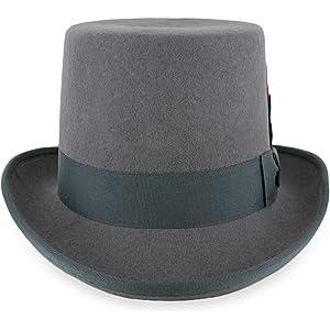7cb7b8b39 Belfry Topper 100% Wool Satin Lined Men's Top Hat in Black Grey Navy Pearl
