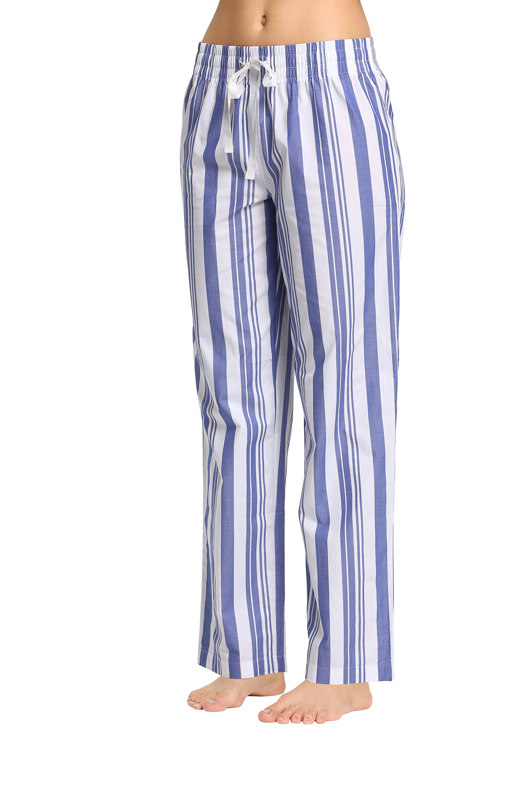 CYZ Women's 100% Cotton Woven Sleep Pajama Pants-IndigoStripe-S