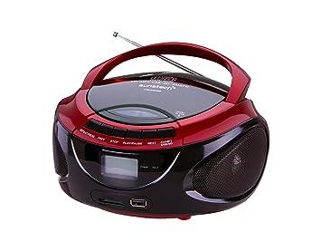 Sunstech CRUSM390RD - Radio AM/FM, CD, SD, USB, 2W RMS, color rojo