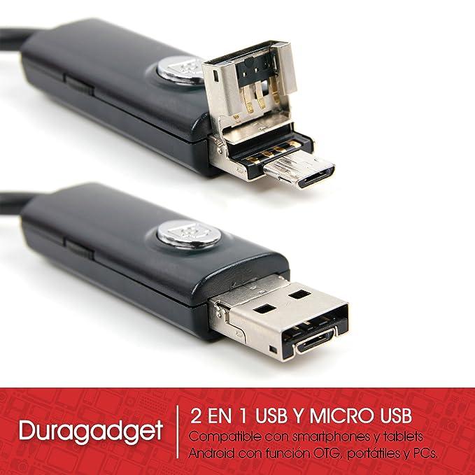 DURAGADGET Endoscopio de 5 Metros con cámara de vídeo y Fotos para Portátil Huawei MateBook X Pro/Lenovo Yoga 530, Yoga 730 (13