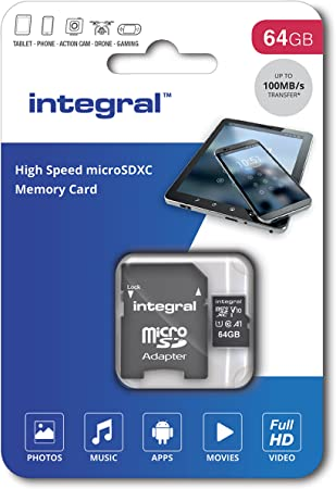 Integral UltimaPro - Memory Card 64 GB microSDHC/XC 100MB/s Class 10 UHS-I U1/ V10 + Adapter