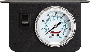 Kleinn Air Horns 1301 Illuminated 160 PSI Single Needle Dash Panel Gauge Kit with ON/Off Switch