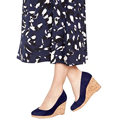 484e6fbc3bf Principles Womens Navy 'Rumer' Wedge Court Shoes 3: Amazon.co.uk ...
