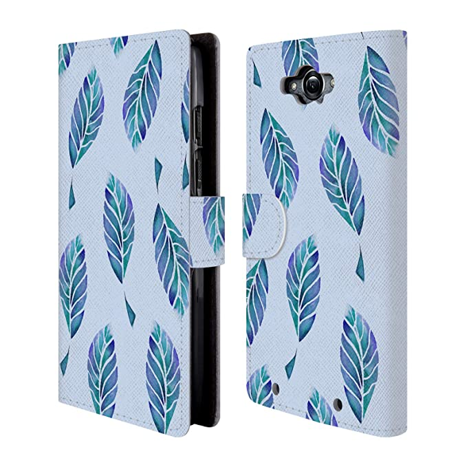 Official Julia Grifol Blue Leaves Bohemian Leather Book Wallet Case Cover for Motorola Droid Turbo
