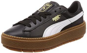 Puma Donna, Basket Platform Trace Wmns, Pelle, Sneakers, Nero