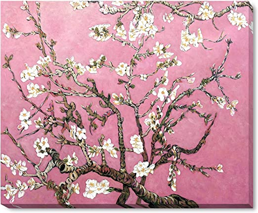 La Pastiche Vg3037 Galwrp18x22 Framed Oil Painting Branches Of An Almond Tree In Blossom Pearl Pink Hand Painted Original By With Gallery Wrap Paintings Amazon Com