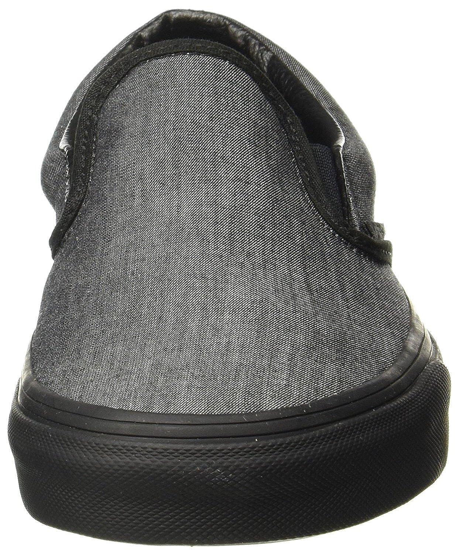 2d0bcd0ac459f Amazon.com | Vans Unisex Mono Chambray Classic Slip-On Skate Shoes-Black  Chambray-5-Women/3.5-Men | Fashion Sneakers
