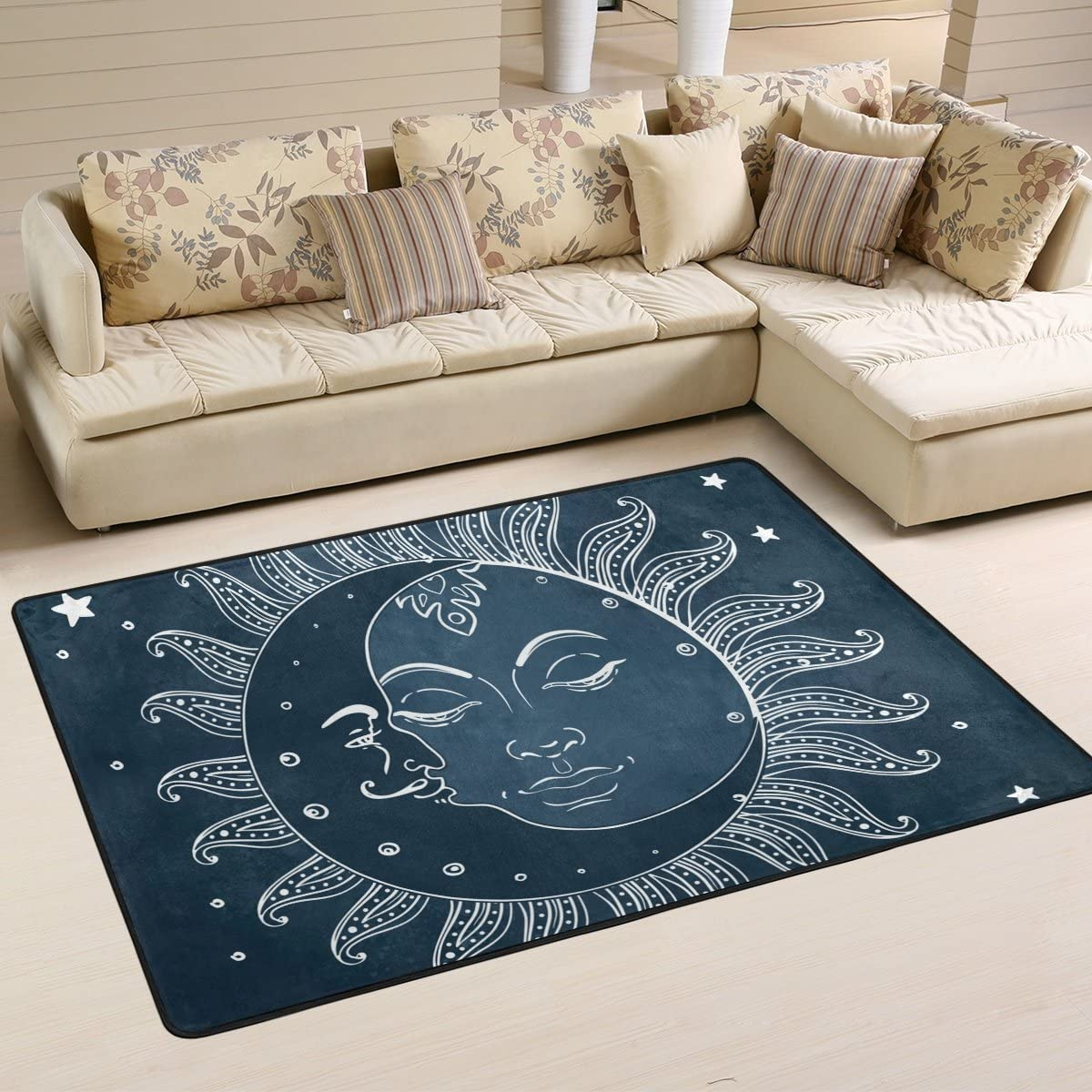 LAVOVO Celestial Sun and Moon Pattern Area Rug Rugs Non-Slip Floor Mat Doormats for Living Room Bedroom 72 x 48 inches