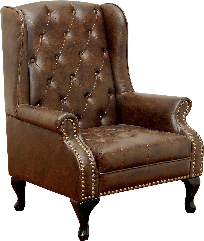 Amazon Com Furniture Of America Elmas Traditional Leatherette Wingback Chair Rustic Brown Furniture Decor
