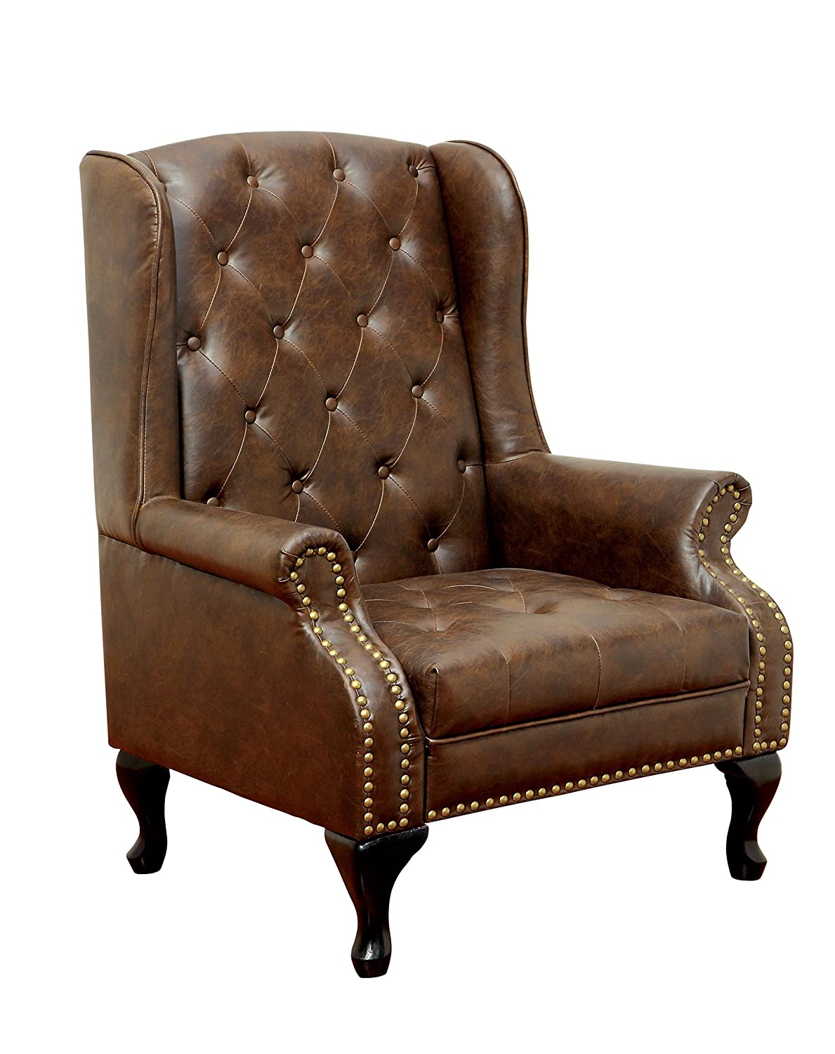 Reclining leather wingback chair - Amazon Com Furniture Of America Elmas Traditional Leatherette Wingback Chair Rustic Brown Kitchen Dining