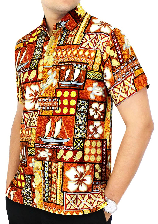 LA LEELA Shirt Camisa Hawaiana Hombre XS - 5XL Manga Corta Delante de Bolsillo Impresión Hawaiana Casual Regular Fit Camisa de Hawaii Azul Real