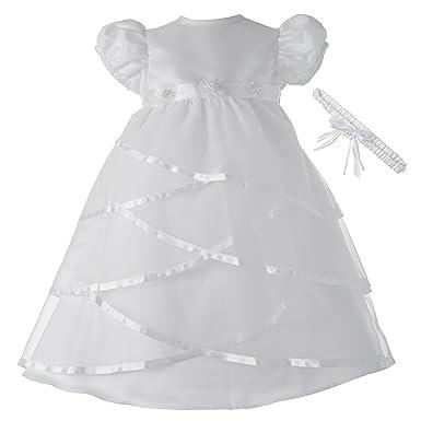 204b3550d6 Amazon.com  Lauren Madison Baby-Girls Newborn Satin Criss Cross Design Dress  Gown  Clothing