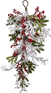 """Nearly Natural 4550 26"""" Berry, Pine & Snowflake Teardrop"""
