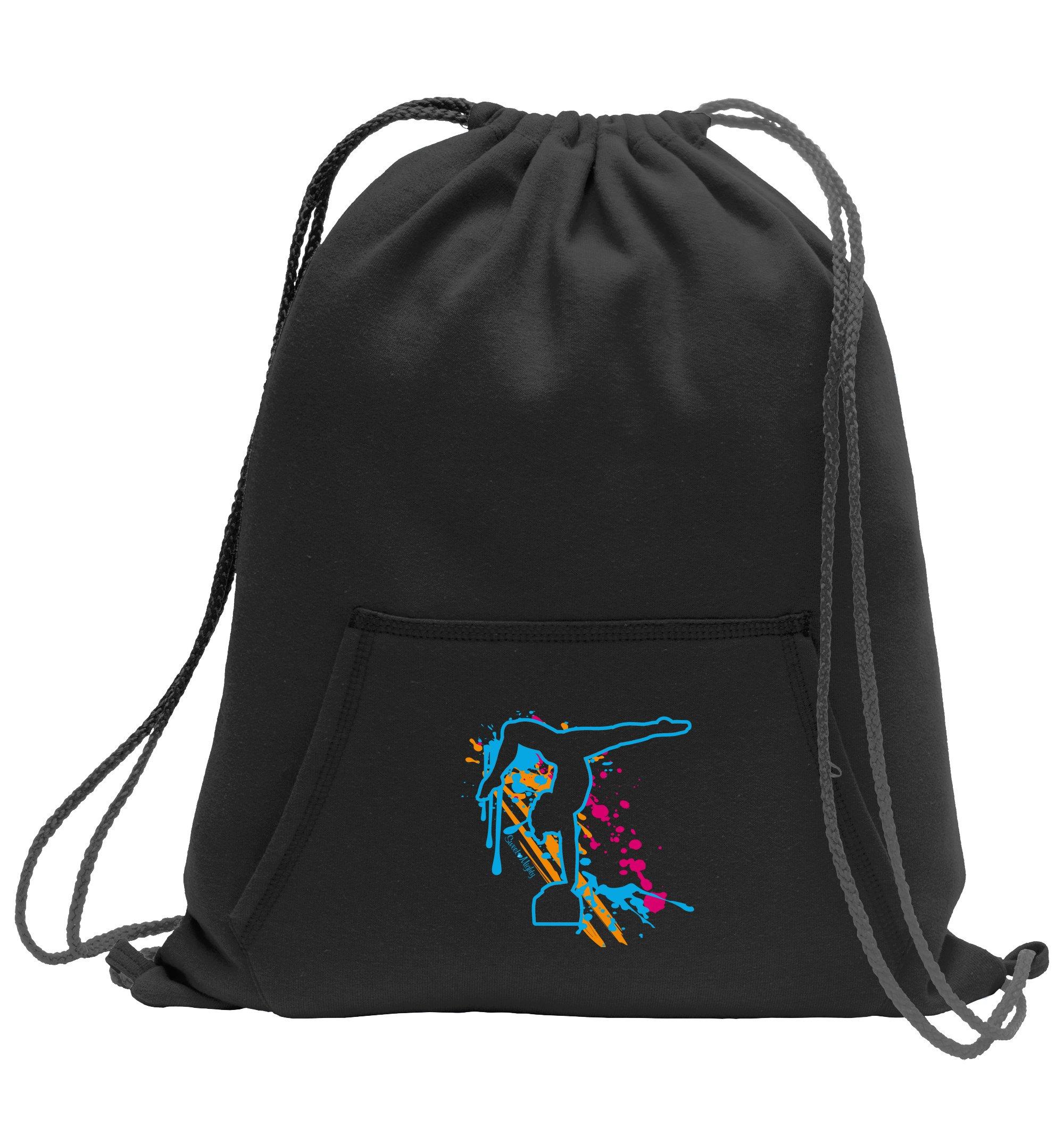 Sweet & Mighty Gymnastics Sweatshirt Cinch Bag with Kangaroo Pocket and Sport Splash Design (Jet Black)