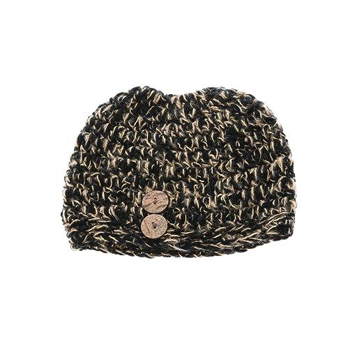 Amazoncom Chunky Crocheted Messy Bun Beanie Pony Tail Hat