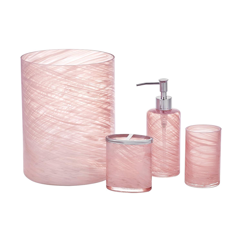Five Queens Court Caribbean Reef Handmade Glass Striated Swirl Pattern Coastal Bathroom Accessory Waste Bin Coral