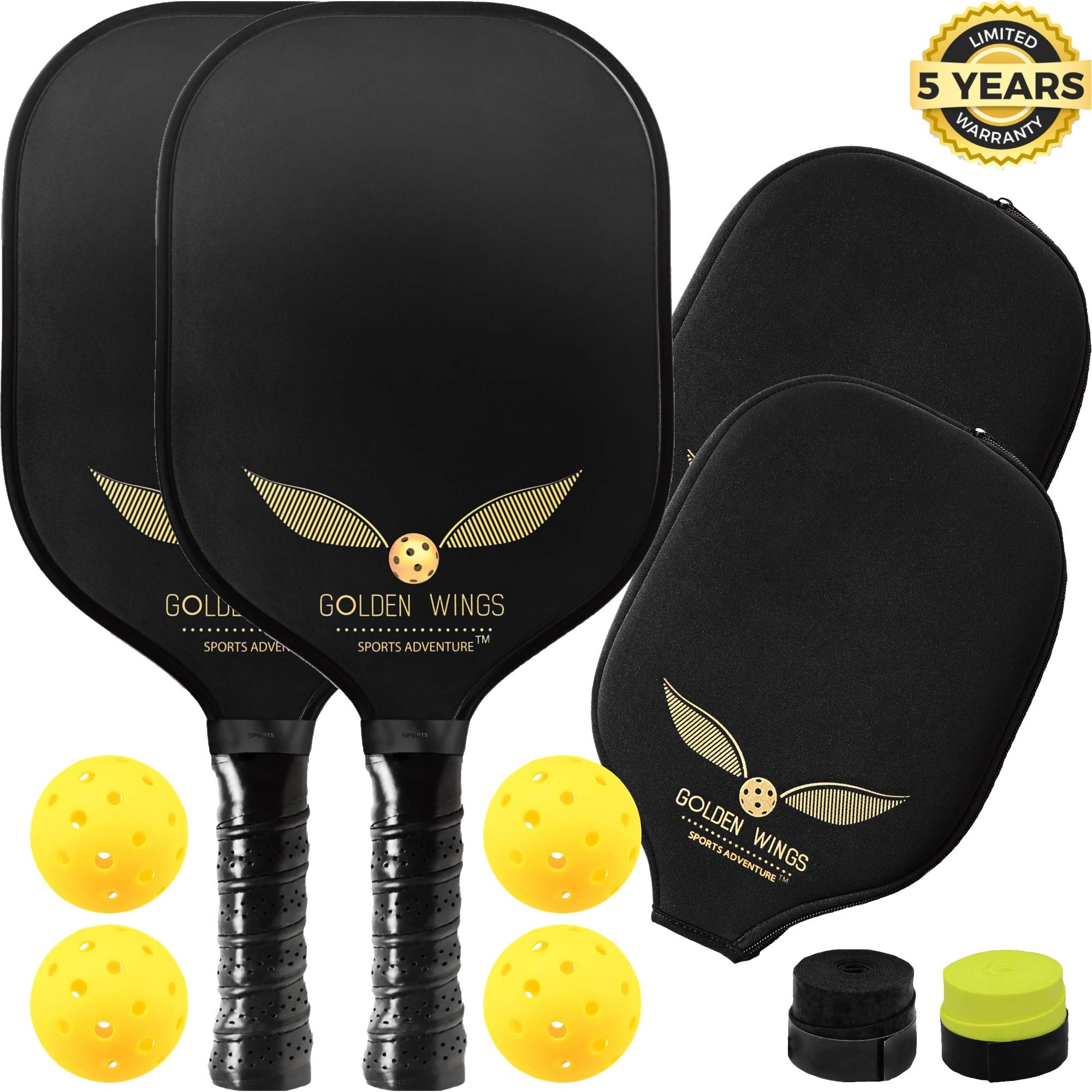 Pickleball Paddle Set of 2 - Graphite Pickleball Racket + 4 Pickle Balls + Cover + 2 overgrips - Composite Pickleball Paddles Bundle Honeycomb Pickle Ball Racket - Pickleball Racquet Game Sets by SPORTS ADVENTURE