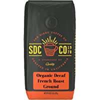 San Diego Coffee 法式脱因深度烘培咖啡 研磨, 16-Ounce(452.8克)袋装