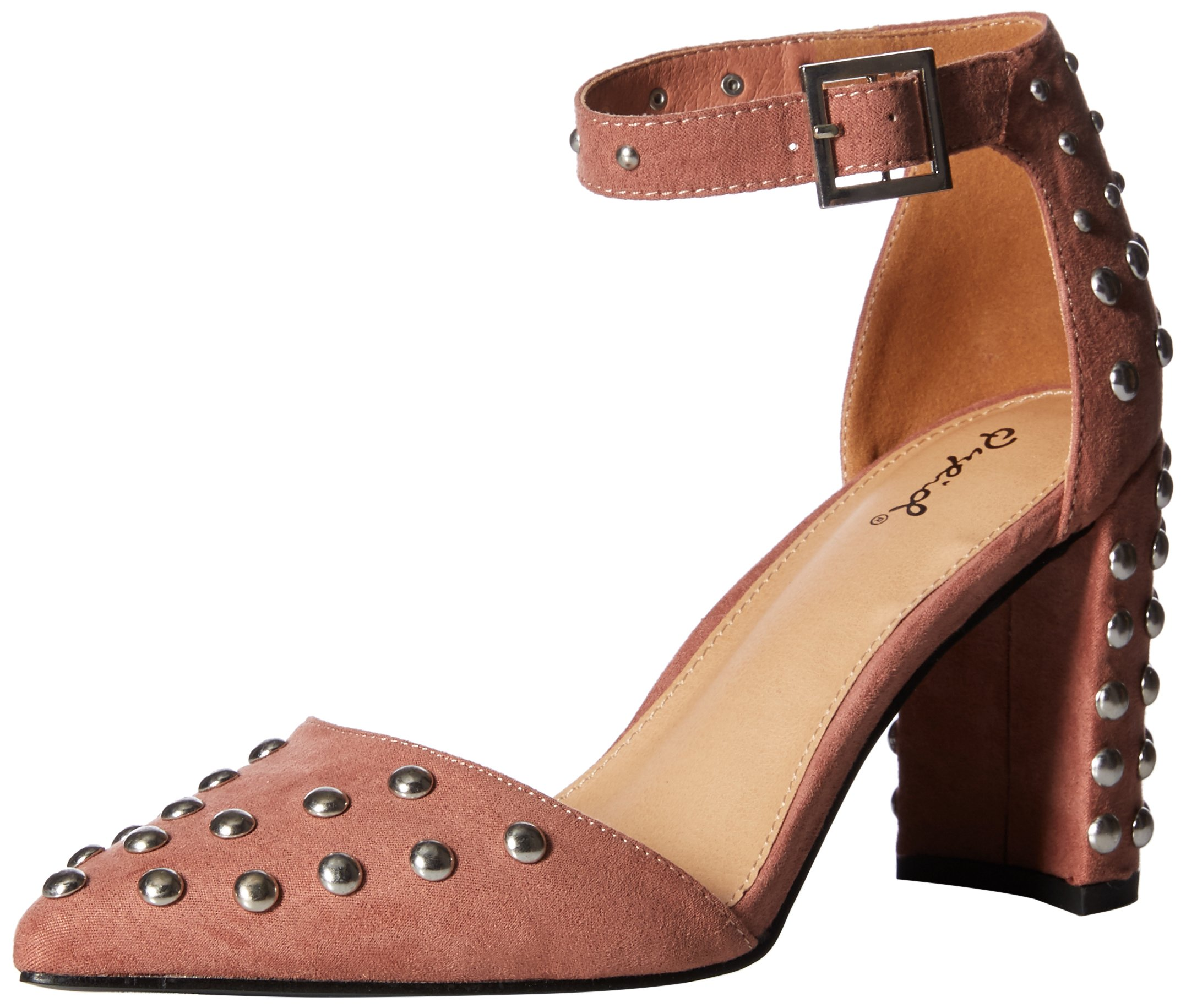 Qupid Women's Studded Chunky Heel d'Orsey Pump, Mauve Suede Polyurethane, 7 M US
