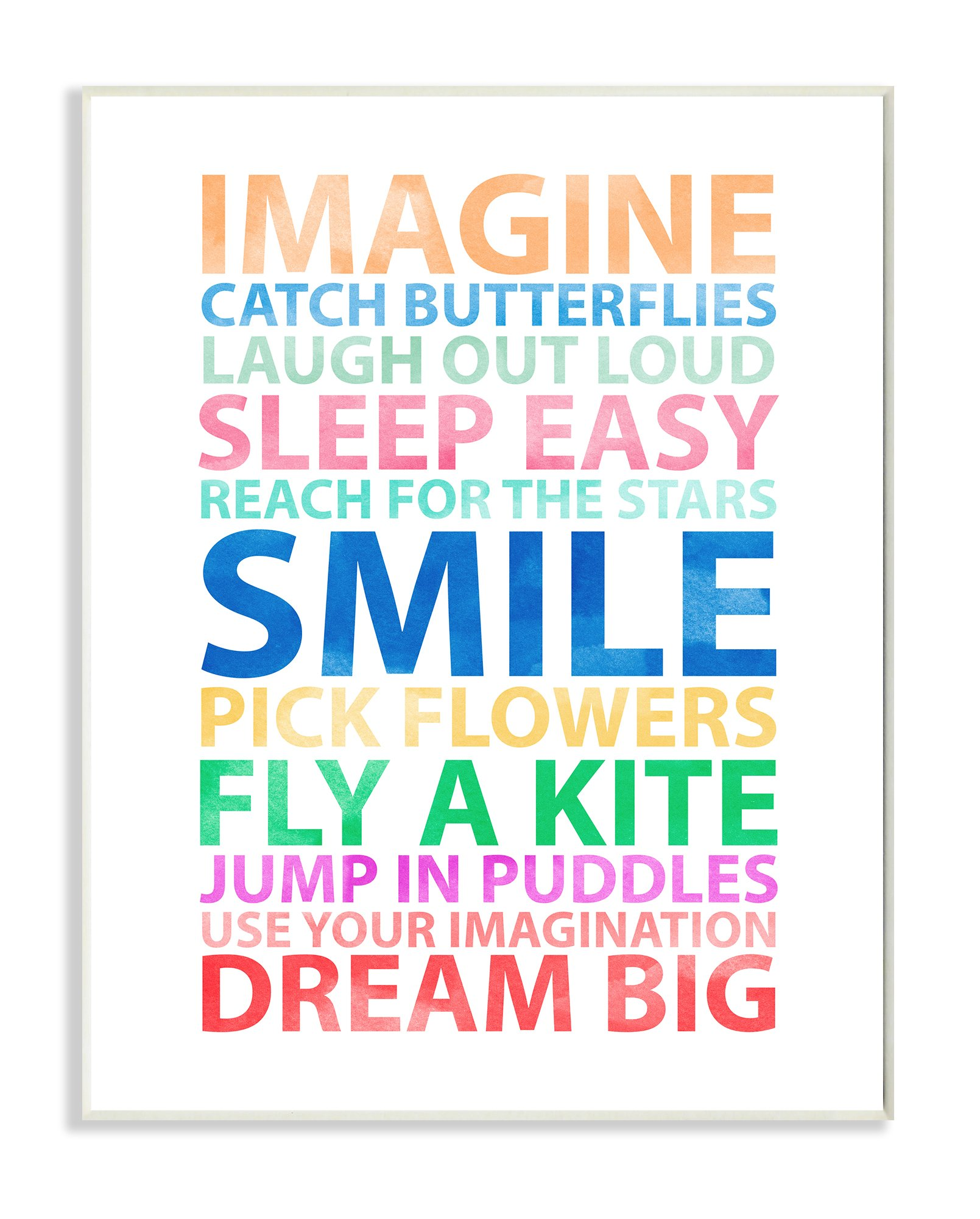 Stupell Home Décor Imagine, Smile, Dream Big Wall Plaque Art, 10 x 0.5 x 15, Proudly Made in USA