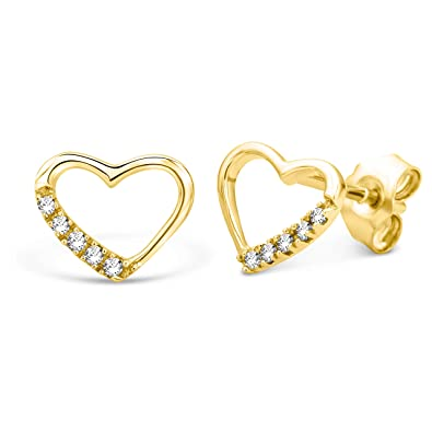 Miore Earrings Women studs White Gold 9 Kt/375 Heart Diamonds 0.07 ct AF22arPcJx