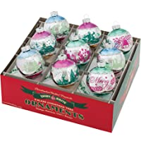 "Shiny Brite Vintage Celebration 2.5"" Flocked Ornaments - Set of 9"